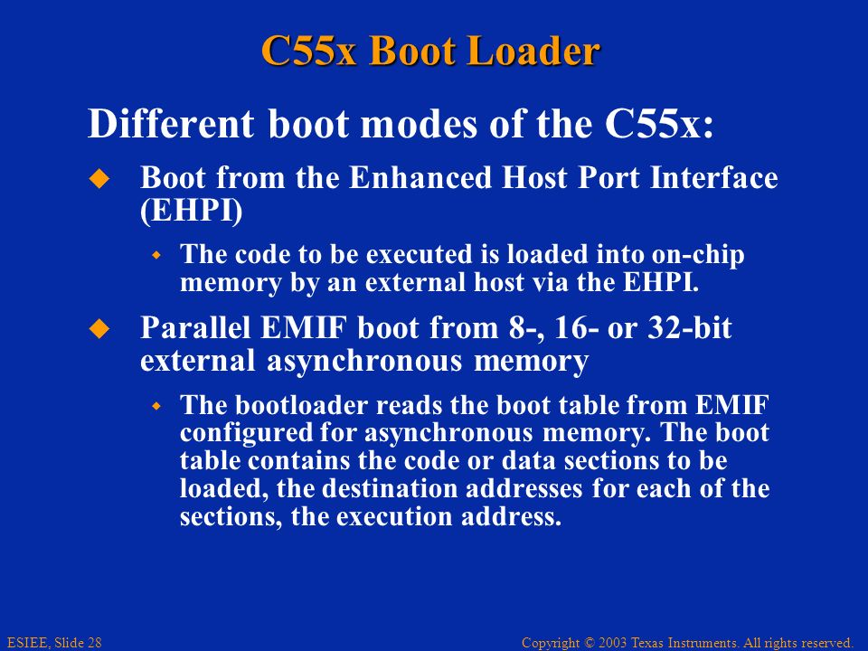 Different boot modes of the C55x: