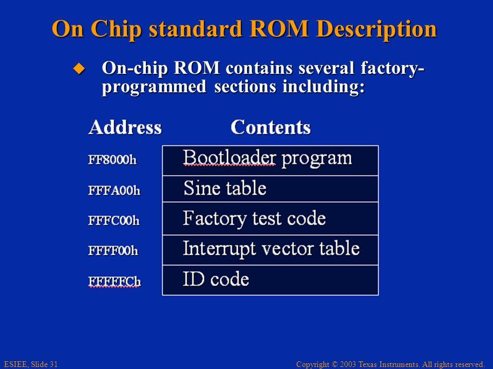 On Chip standard ROM Description