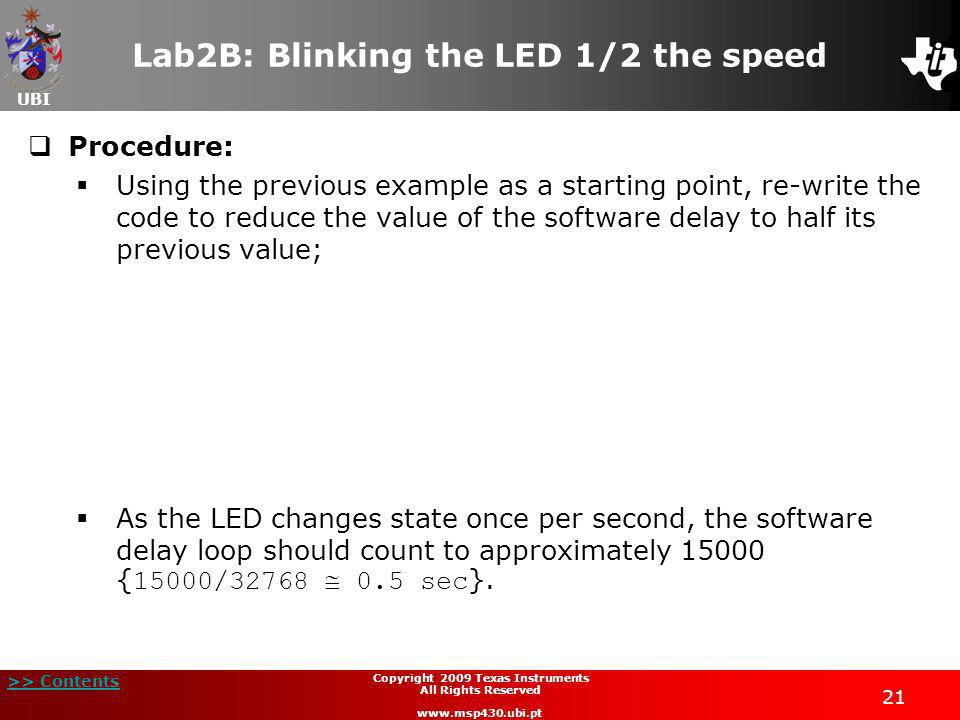 Lab2B: Blinking the LED 1/2 the speed