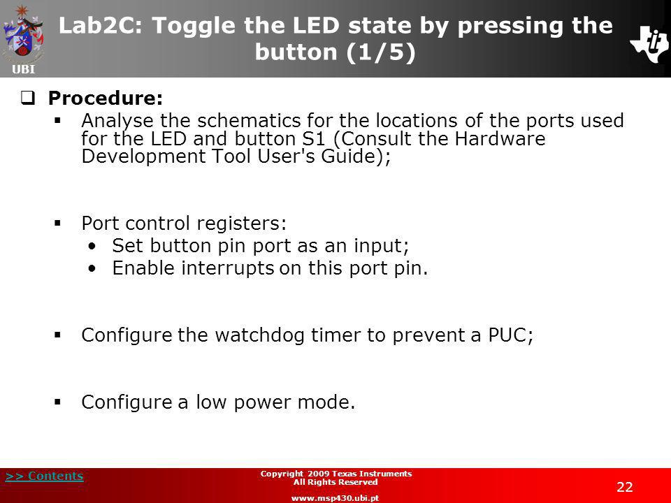 Lab2C: Toggle the LED state by pressing the button (1/5)