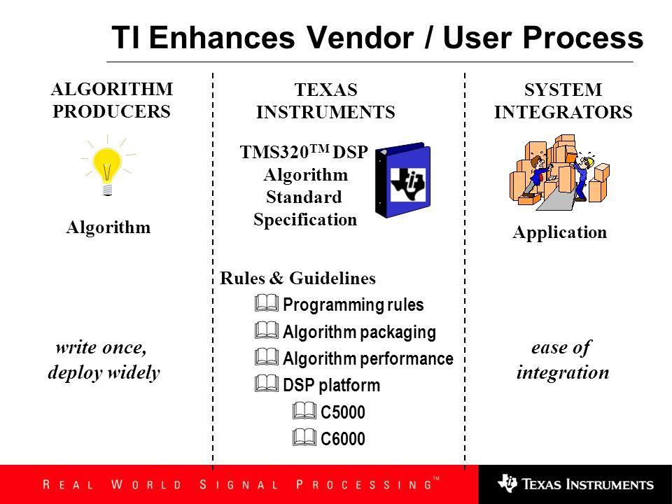 TI Enhances Vendor / User Process