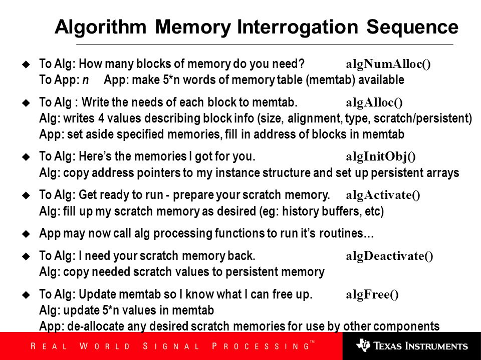 Algorithm Memory Interrogation Sequence