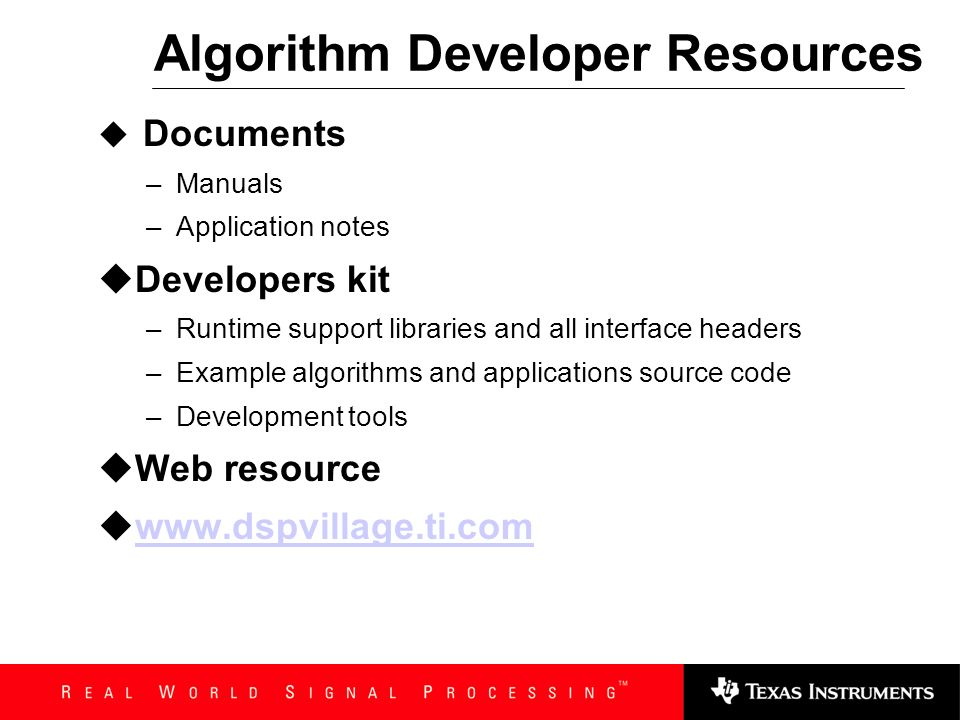 Algorithm Developer Resources