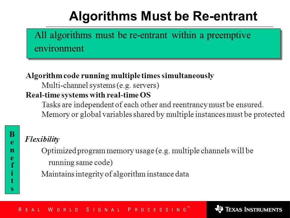 Algorithms Must be Re-entrant