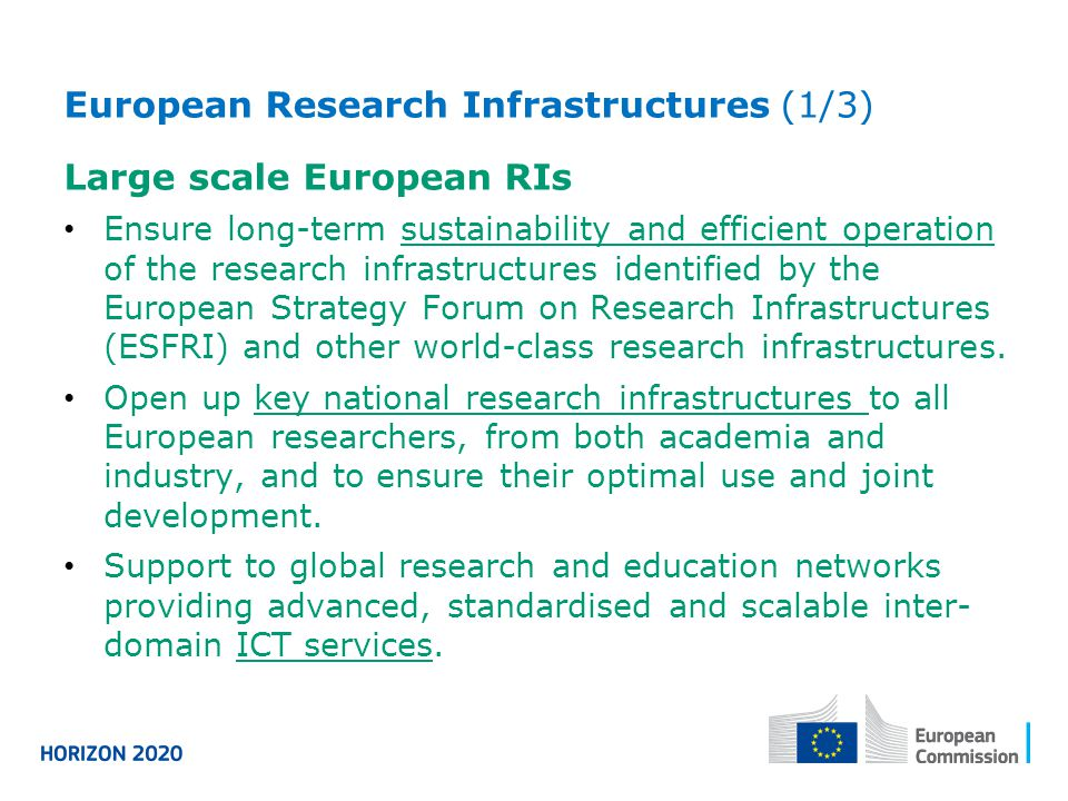 European Research Infrastructures (1/3) Large scale European RIs