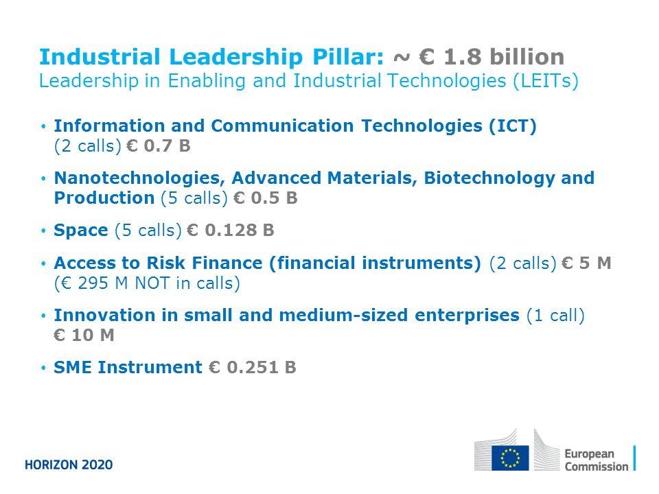 Industrial Leadership Pillar: ~ € 1