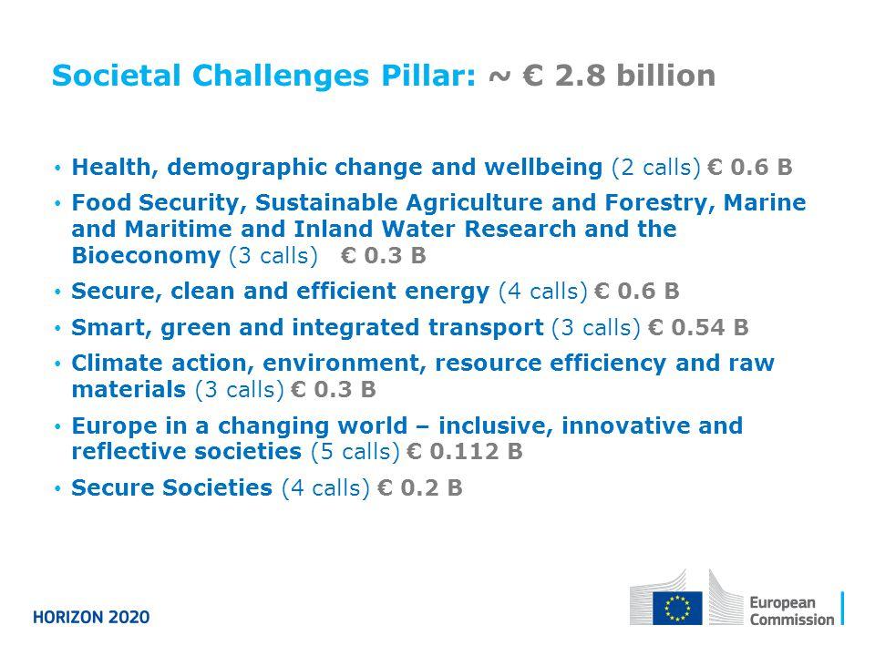 Societal Challenges Pillar: ~ € 2.8 billion