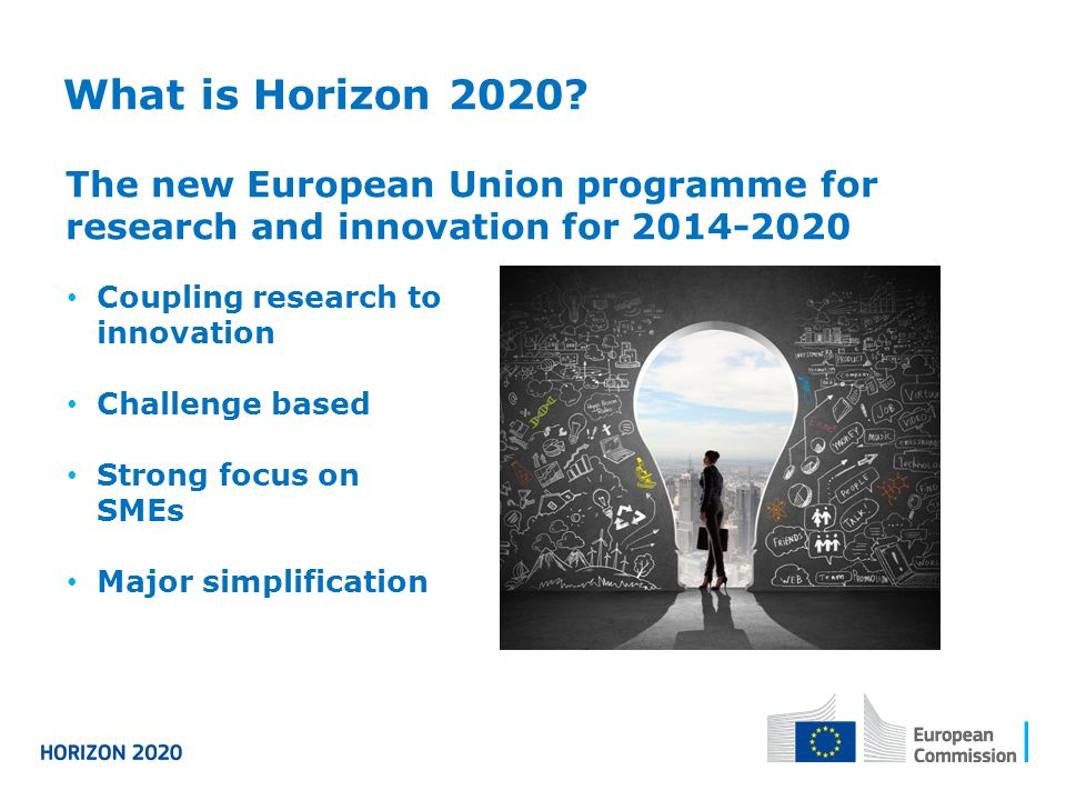 What is Horizon 2020 The new European Union programme for research and innovation for 2014-2020. Coupling research to innovation.