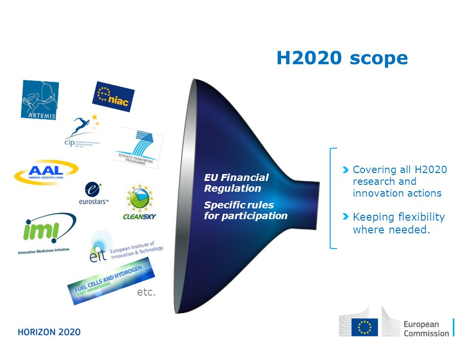 H2020 scope Keeping flexibility where needed. etc.