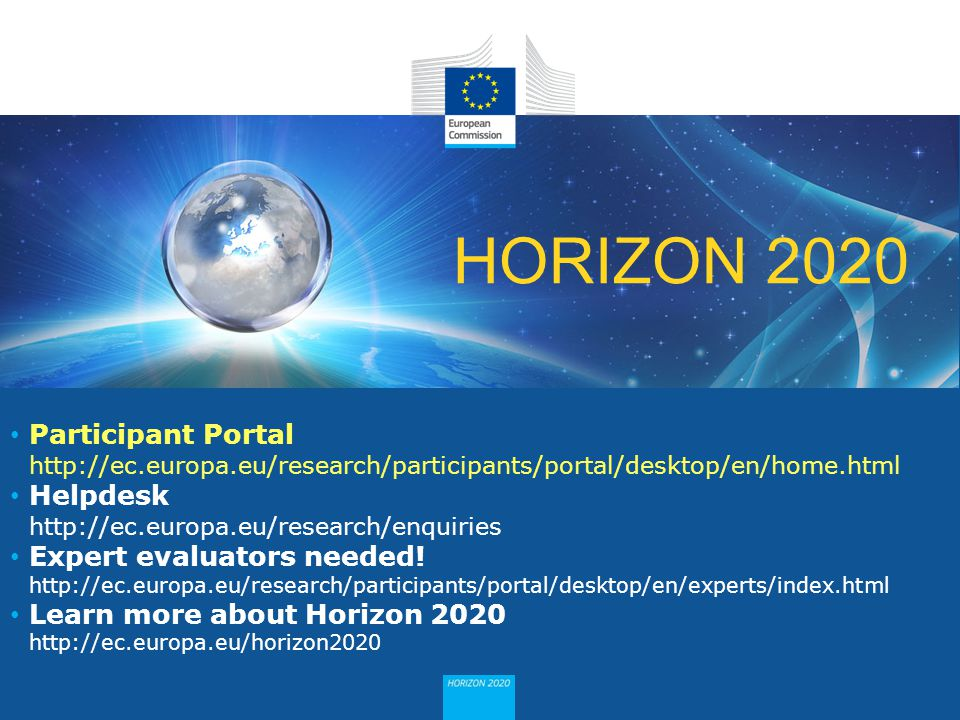 Expert evaluators needed! Learn more about Horizon 2020