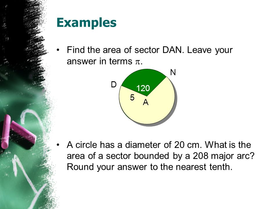 Examples Find the area of sector DAN. Leave your answer in terms .