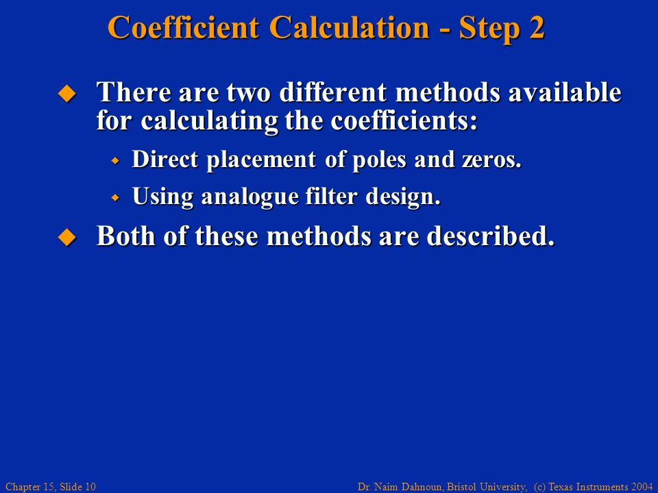 Coefficient Calculation - Step 2