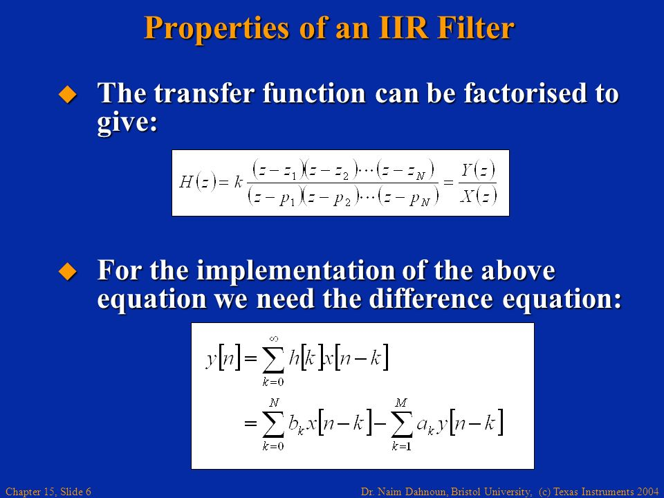 Properties of an IIR Filter