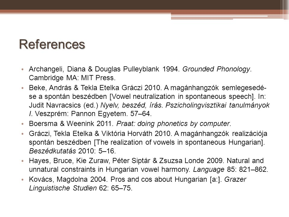 References Archangeli, Diana & Douglas Pulleyblank Grounded Phonology. Cambridge MA: MIT Press.