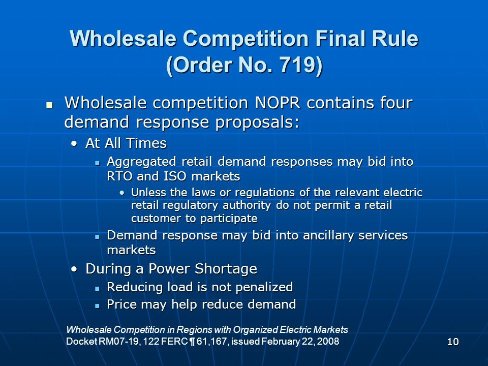 Wholesale Competition Final Rule (Order No. 719)
