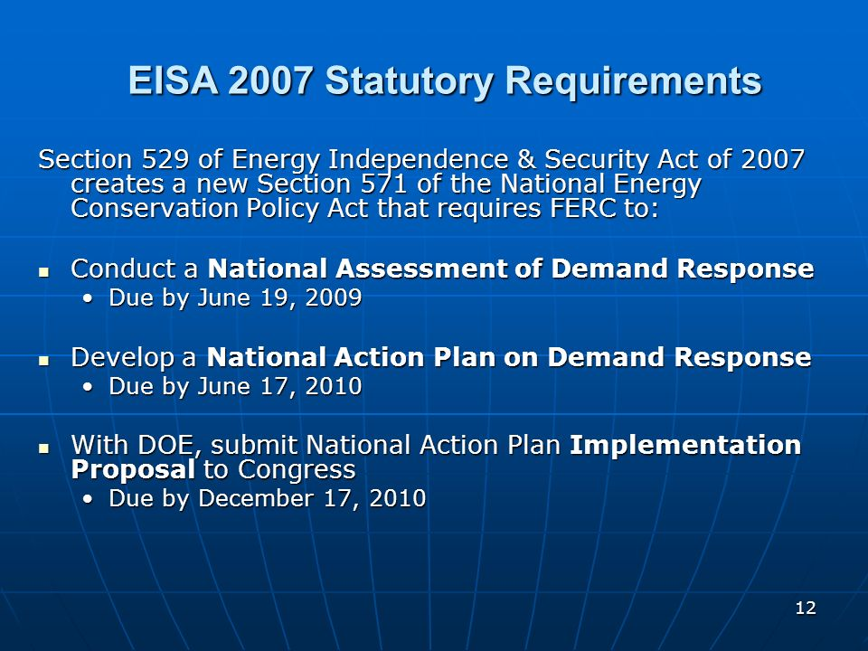 EISA 2007 Statutory Requirements