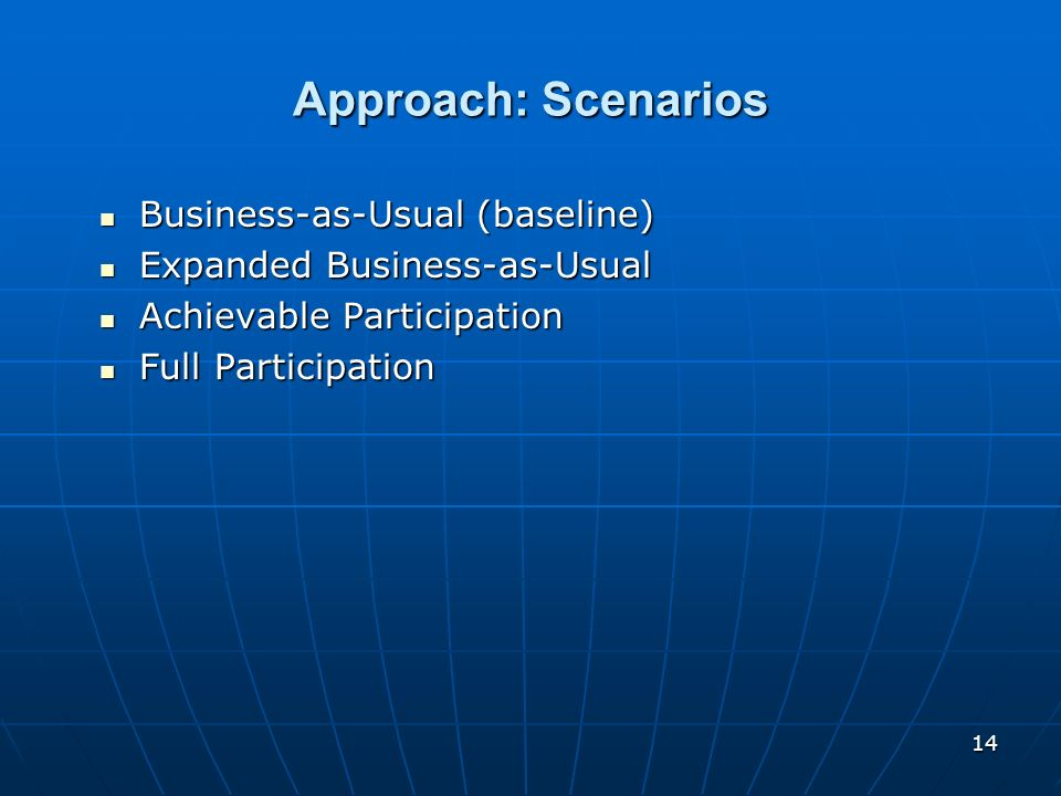 Approach: Scenarios Business-as-Usual (baseline)