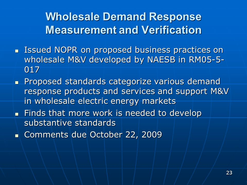 Wholesale Demand Response Measurement and Verification