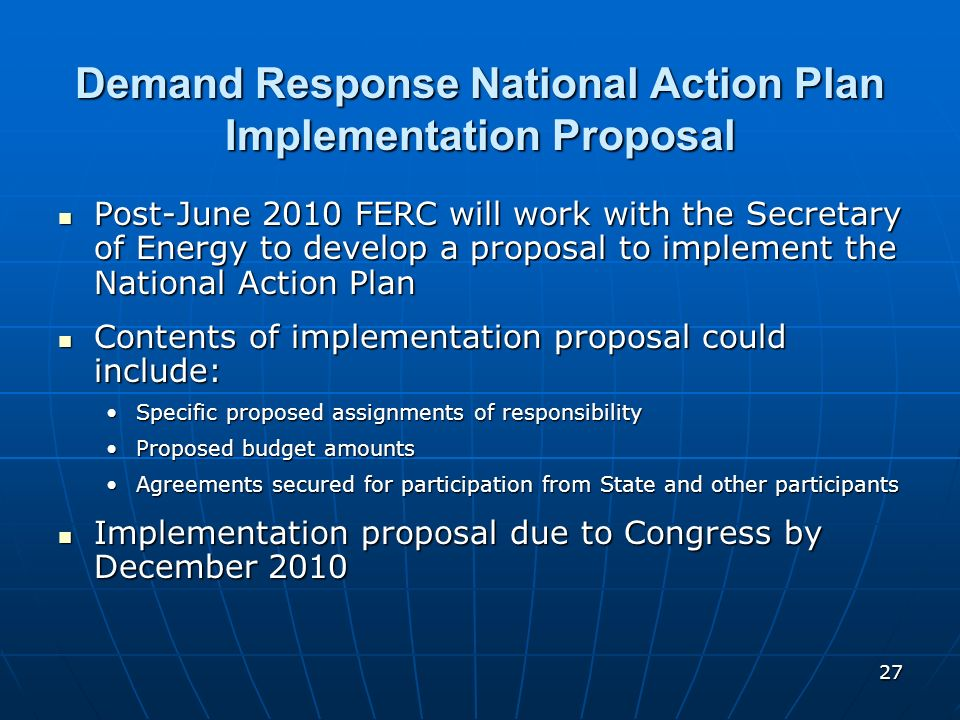 Demand Response National Action Plan Implementation Proposal