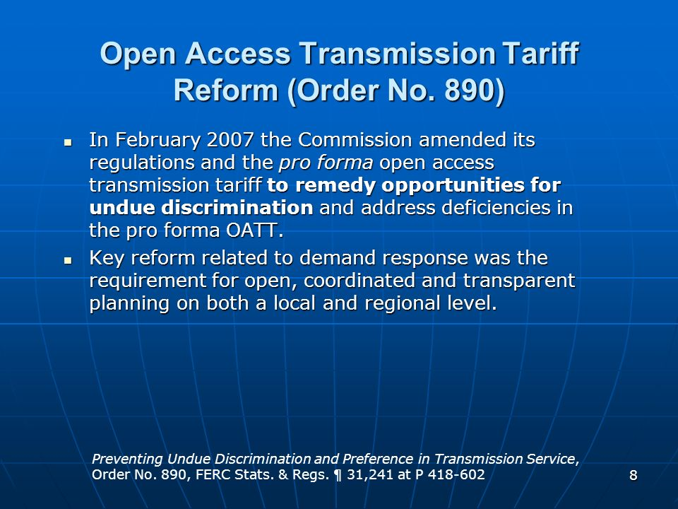 Open Access Transmission Tariff Reform (Order No. 890)