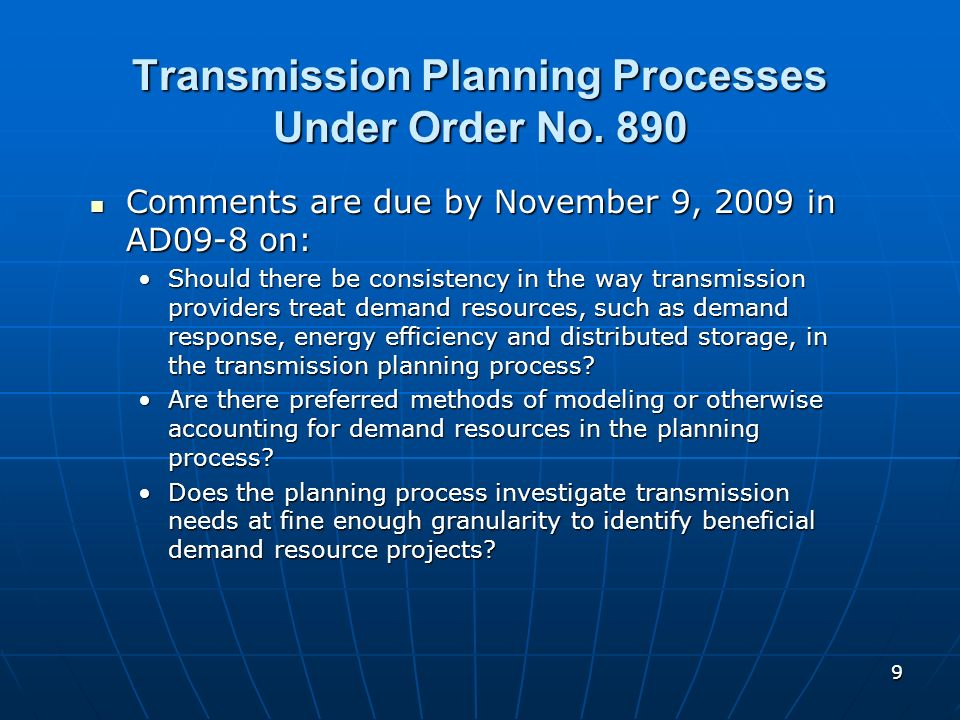 Transmission Planning Processes Under Order No. 890