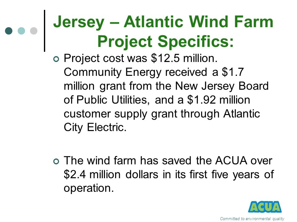 Jersey – Atlantic Wind Farm Project Specifics: