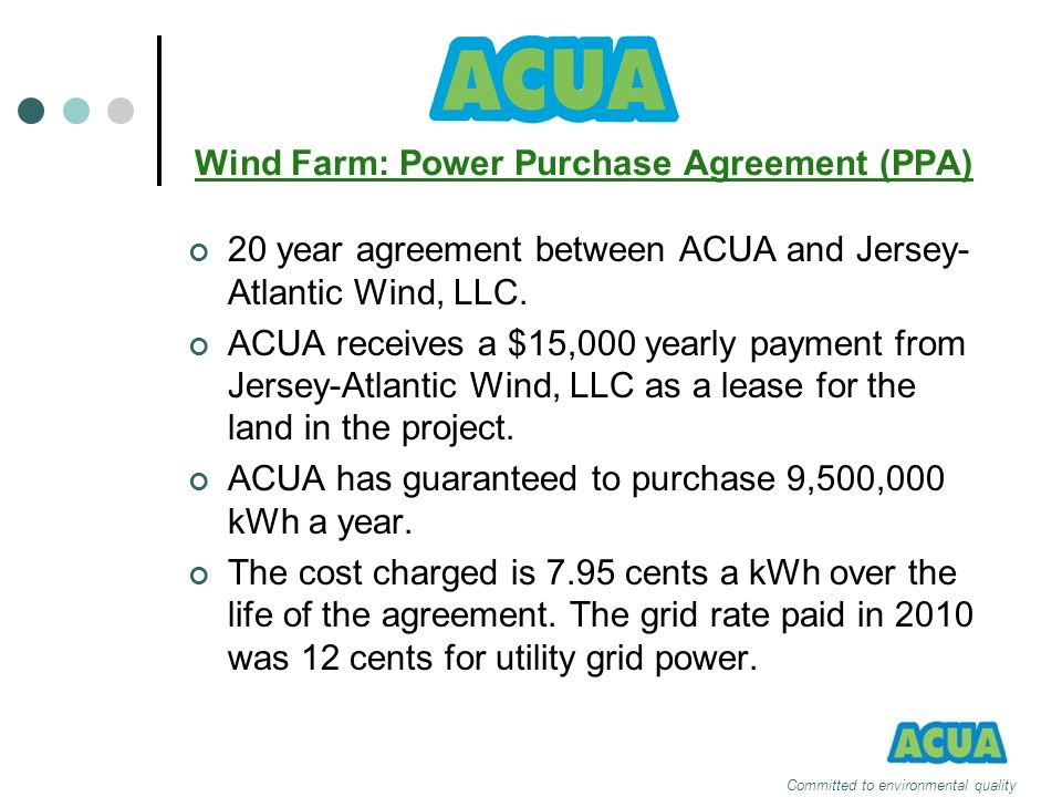 Wind Farm: Power Purchase Agreement (PPA)