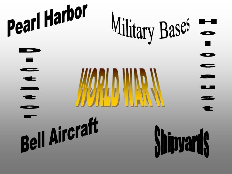Pearl Harbor Military Bases Holocaust WORLD WAR II Dictator Bell Aircraft Shipyards
