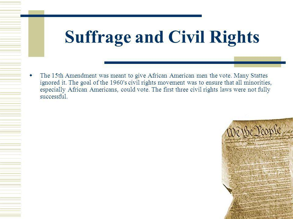 Suffrage and Civil Rights