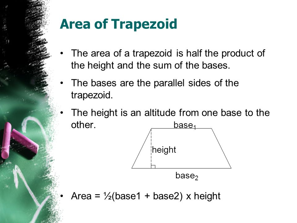 Area of Trapezoid The area of a trapezoid is half the product of the height and the sum of the bases.