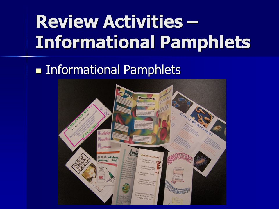 Review Activities – Informational Pamphlets