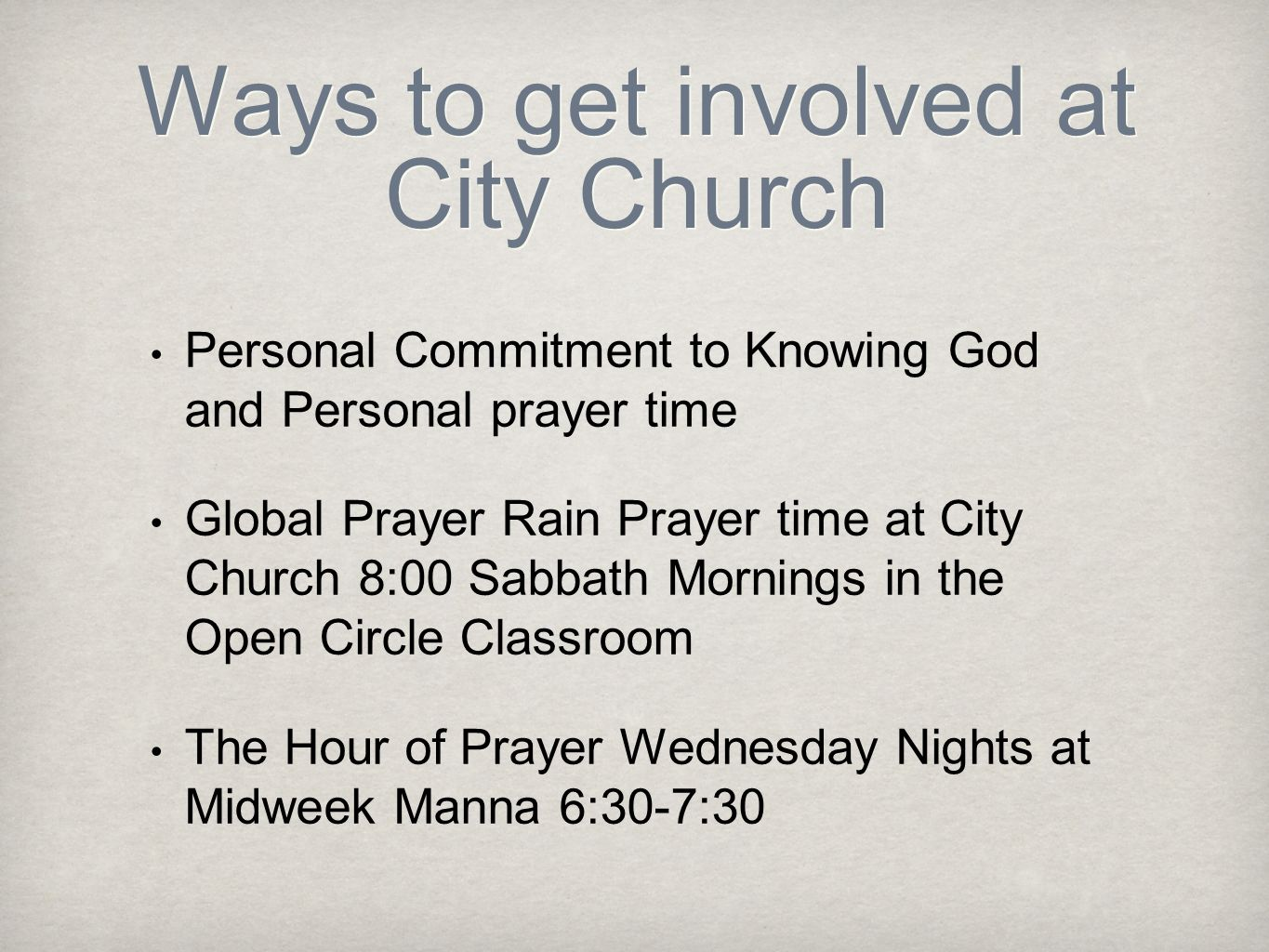 Ways to get involved at City Church