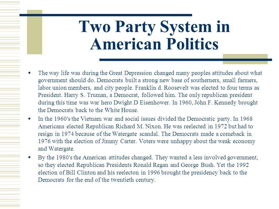 Two Party System in American Politics
