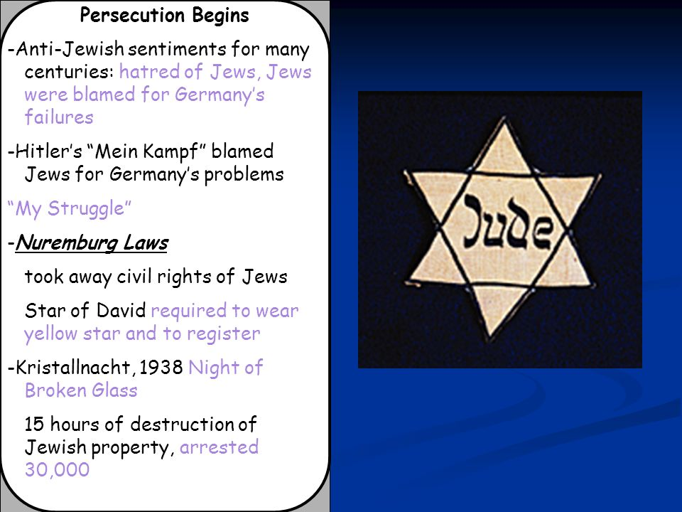 Persecution Begins -Anti-Jewish sentiments for many centuries: hatred of Jews, Jews were blamed for Germany's failures.