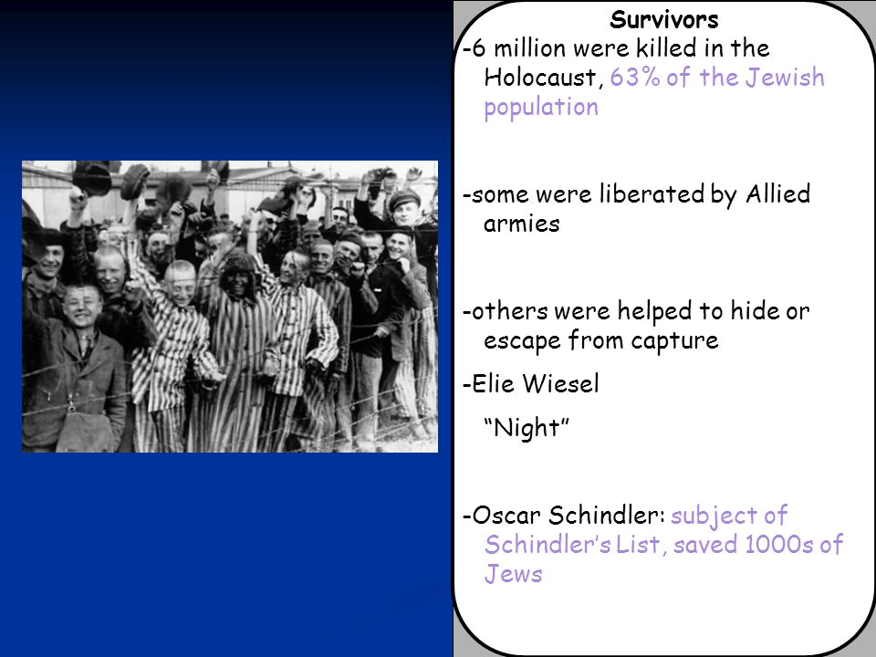 Survivors -6 million were killed in the Holocaust, 63% of the Jewish population. -some were liberated by Allied armies.