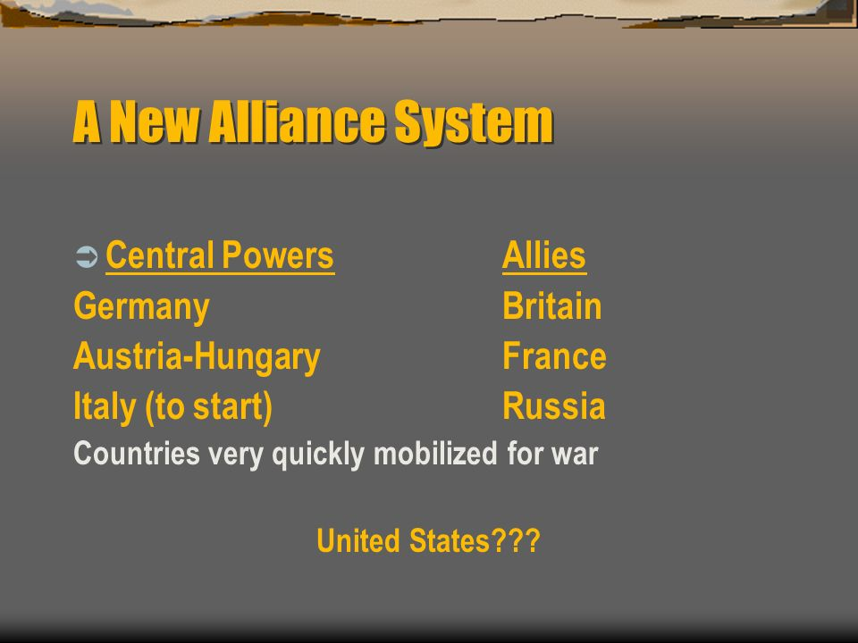 A New Alliance System Central Powers Allies Germany Britain