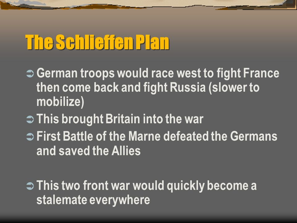 The Schlieffen Plan German troops would race west to fight France then come back and fight Russia (slower to mobilize)