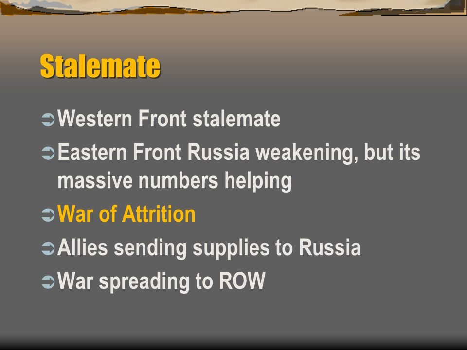 Stalemate Western Front stalemate