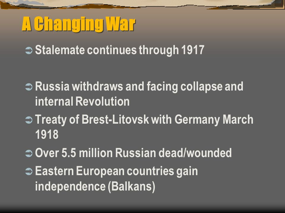 A Changing War Stalemate continues through 1917
