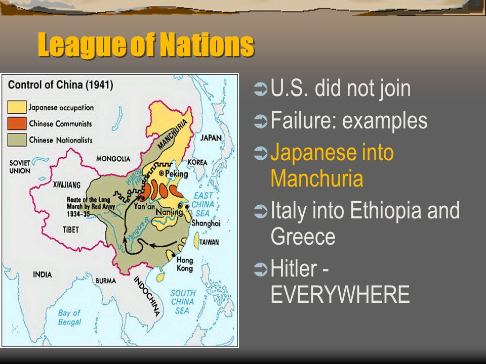 League of Nations U.S. did not join Failure: examples