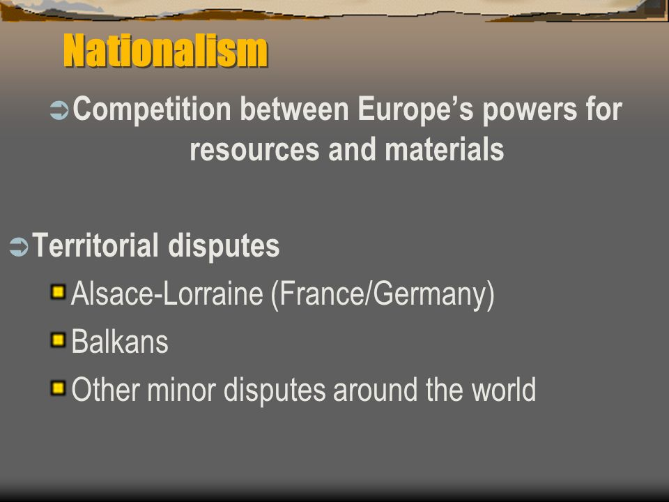 Competition between Europe's powers for resources and materials