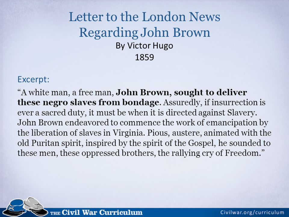 Letter to the London News Regarding John Brown By Victor Hugo 1859