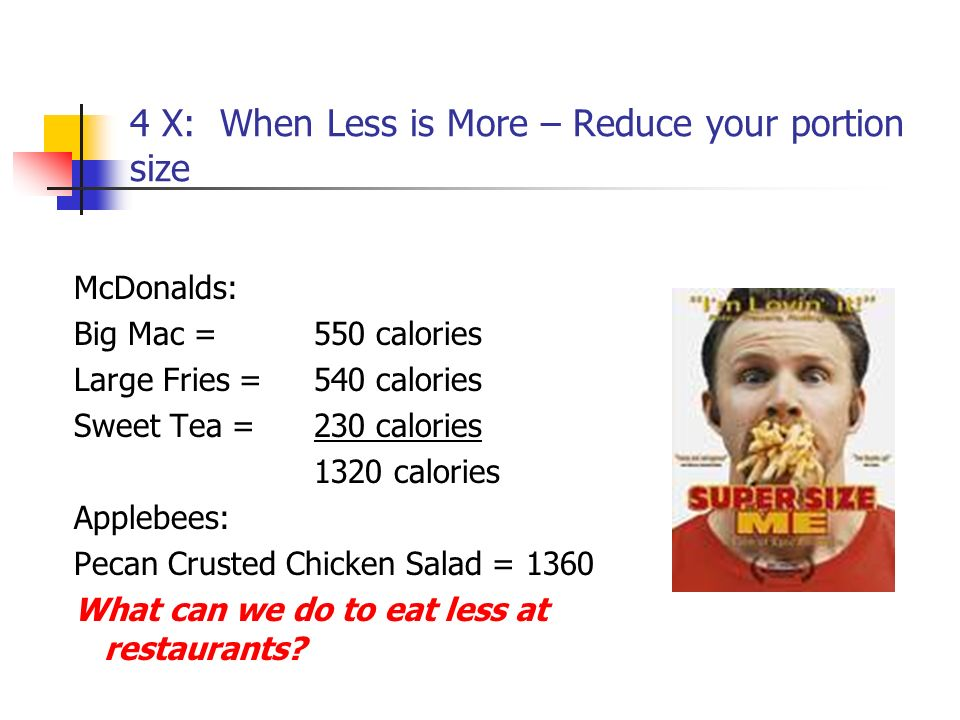 4 X: When Less is More – Reduce your portion size