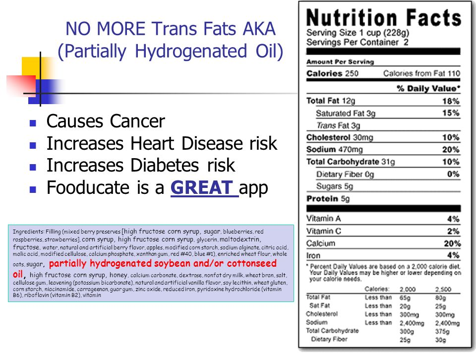NO MORE Trans Fats AKA (Partially Hydrogenated Oil)