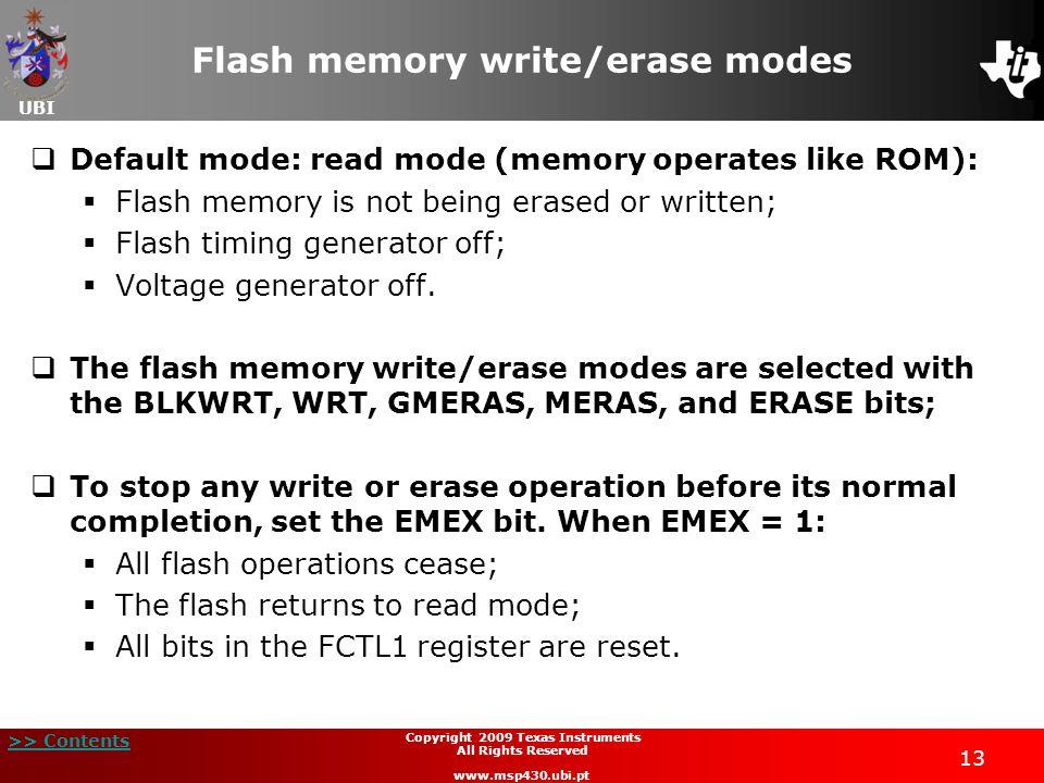 Flash memory write/erase modes