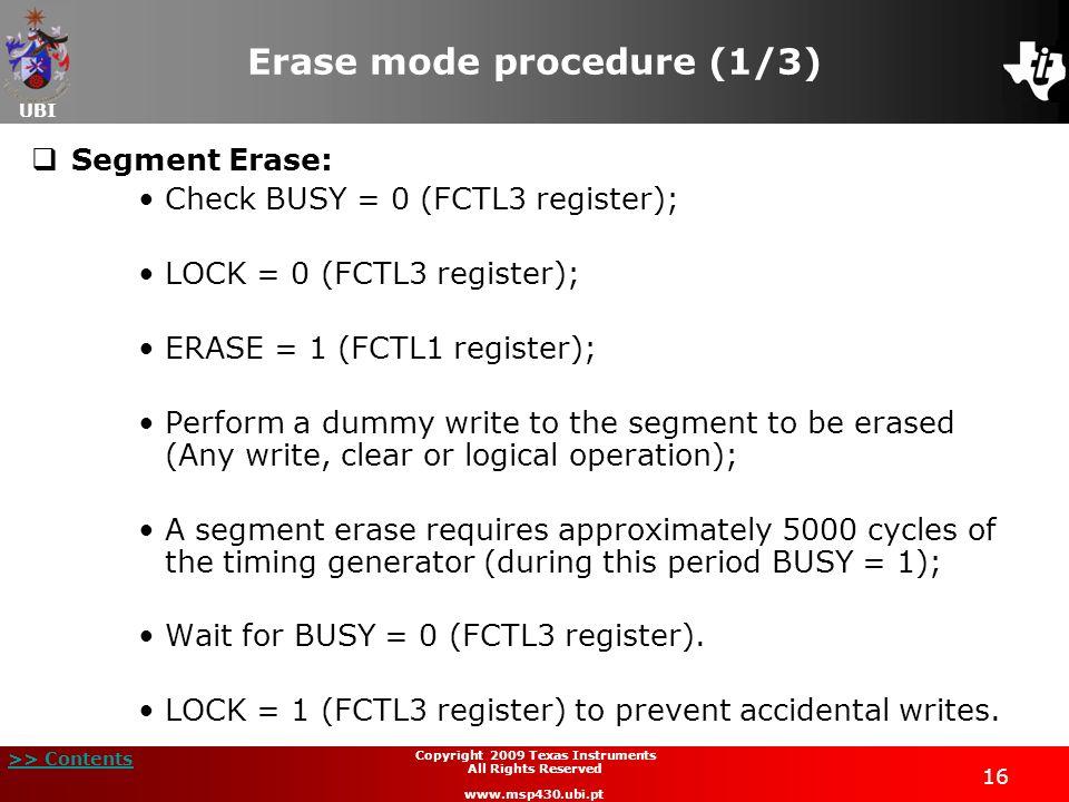 Erase mode procedure (1/3)