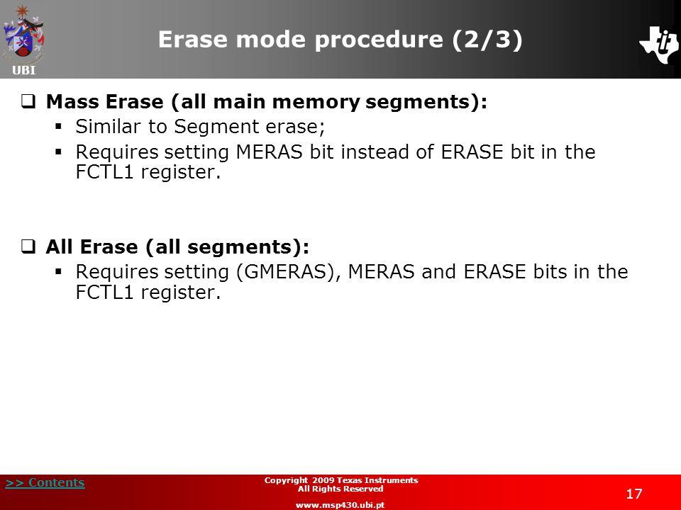 Erase mode procedure (2/3)