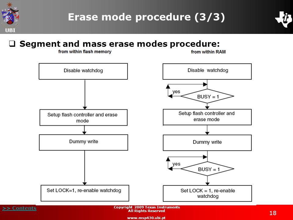 Erase mode procedure (3/3)