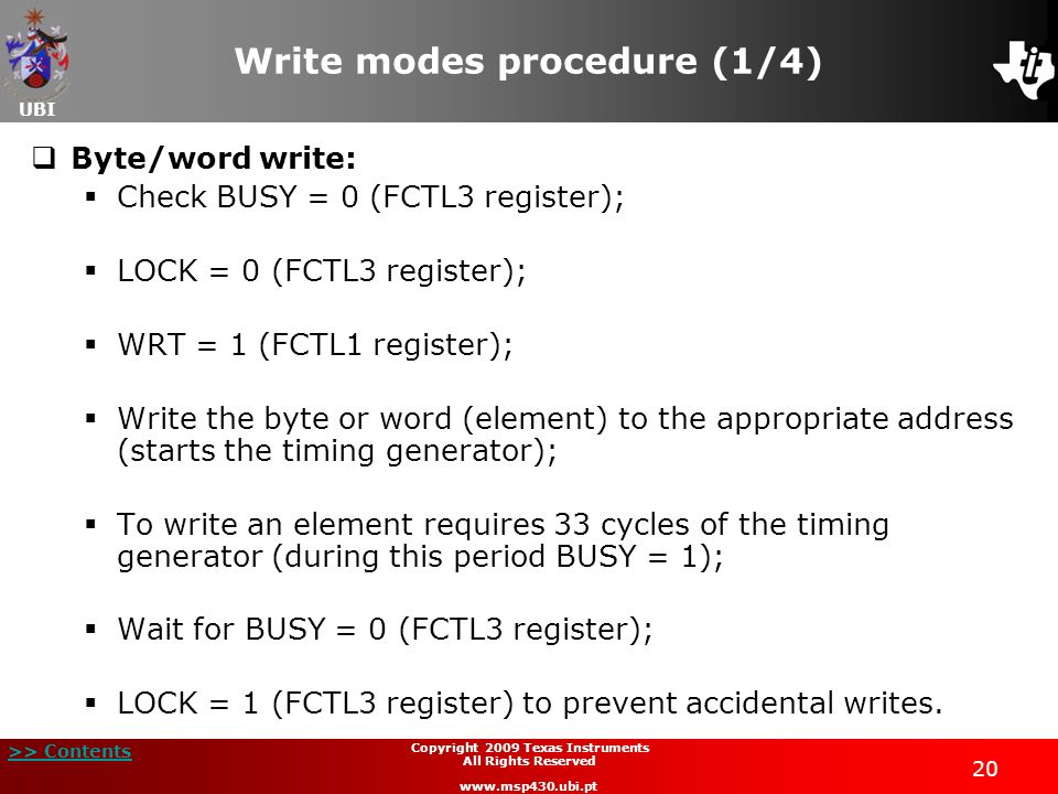 Write modes procedure (1/4)