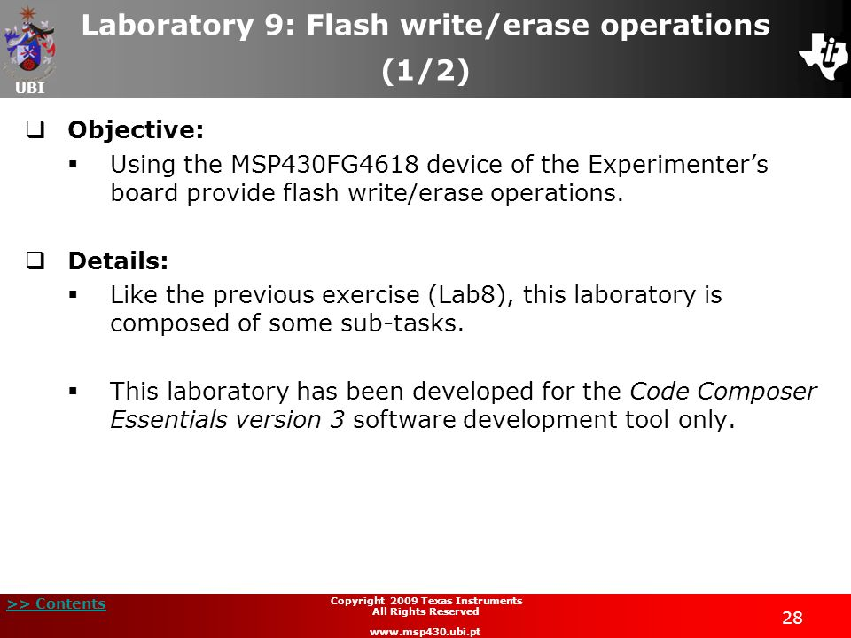 Laboratory 9: Flash write/erase operations (1/2)